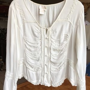 Delicate Ruched Blouse w Pearl Buttons